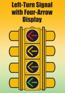 Graphic showing new left turn signal with four arrow display