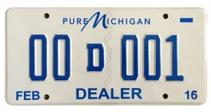 photo of sample dealer license plate