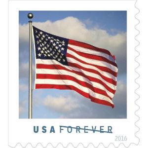 sample image of USPS's forever stamp displaying US flag
