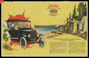 historical advertisement for a Ford touring car, showing that the Ford can bring pleasure and convenience to the family.